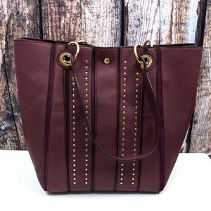 NEW Steve Madden Wine/Gold Studded Tote/Shopper